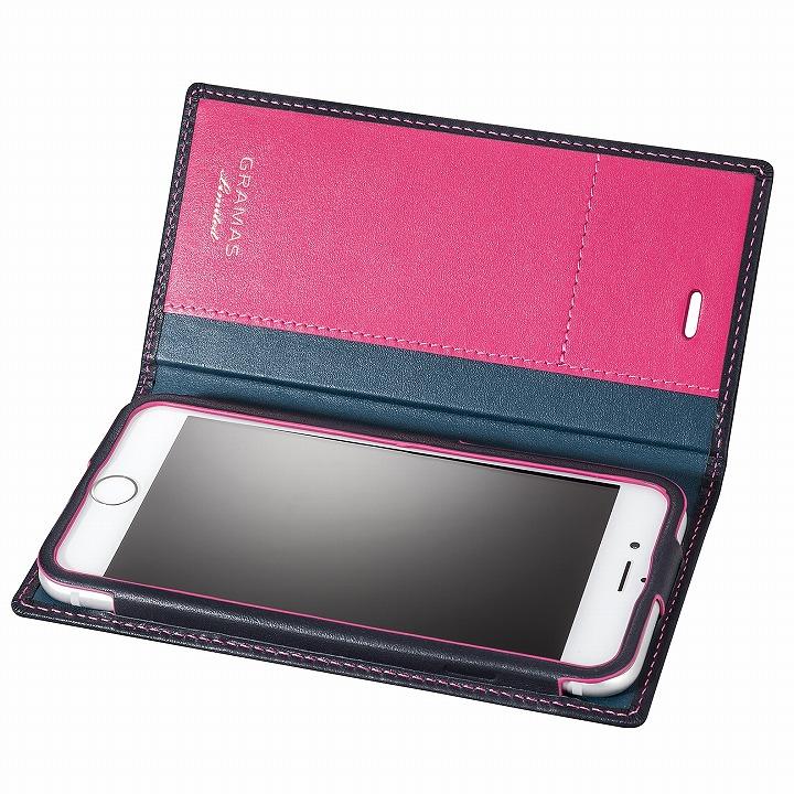 [数量限定モデル]GRAMAS フルレザー手帳型ケース ネイビー/ピンク iPhone 6s/6