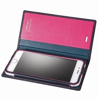 [数量限定モデル]GRAMAS フルレザー手帳型ケース ネイビー/ピンク iPhone 6