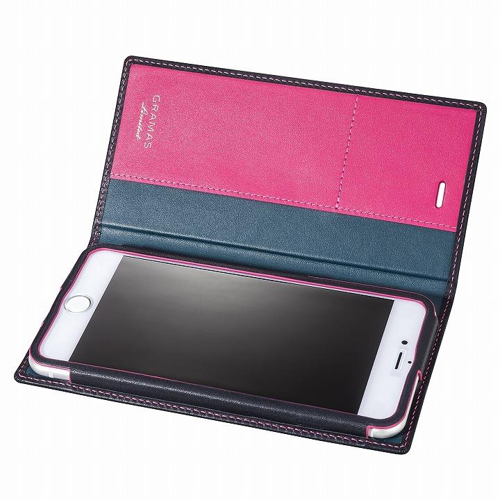 【iPhone6s Plus/6 Plusケース】[数量限定モデル]GRAMAS フルレザー手帳型ケース ネイビー/ピンク iPhone 6s Plus/6 Plus_0