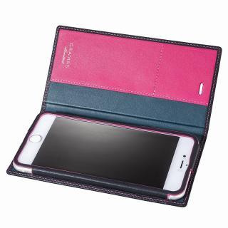 【iPhone6s Plus/6 Plusケース】[数量限定モデル]GRAMAS フルレザー手帳型ケース ネイビー/ピンク iPhone 6s Plus/6 Plus