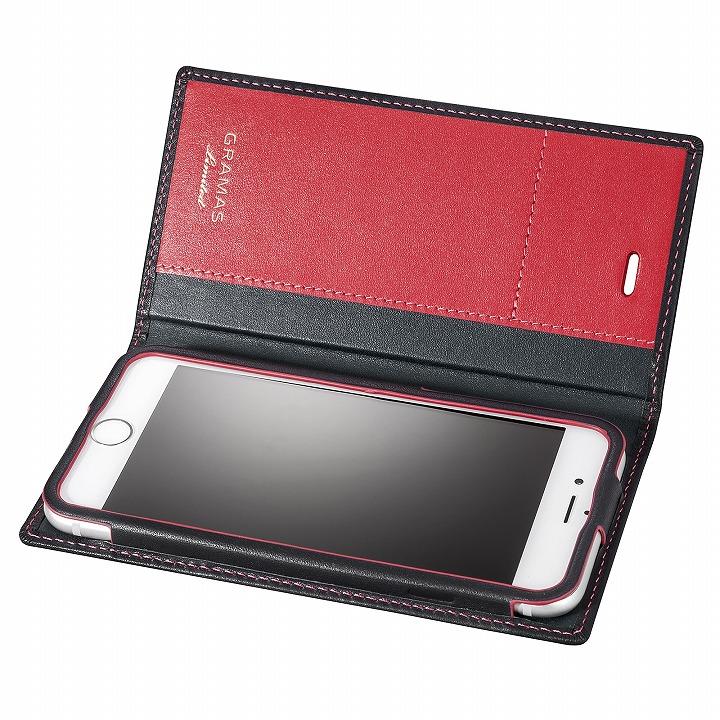 iPhone6s/6 ケース [数量限定モデル]GRAMAS フルレザー手帳型ケース ブラック/レッド iPhone 6s/6_0