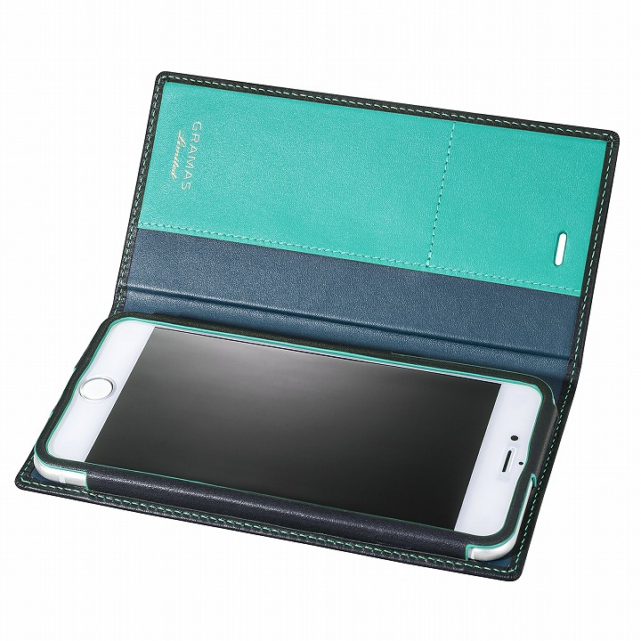 [数量限定モデル]GRAMAS フルレザー手帳型ケース ネイビー/ターコイズ iPhone 6s Plus/6 Plus