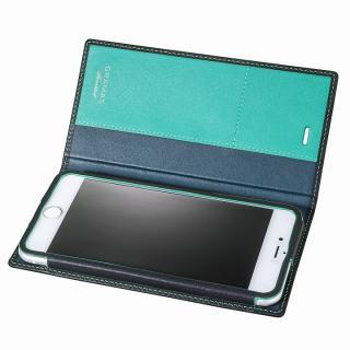 [数量限定モデル]GRAMAS フルレザー手帳型ケース ネイビー/ターコイズ iPhone 6 Plus