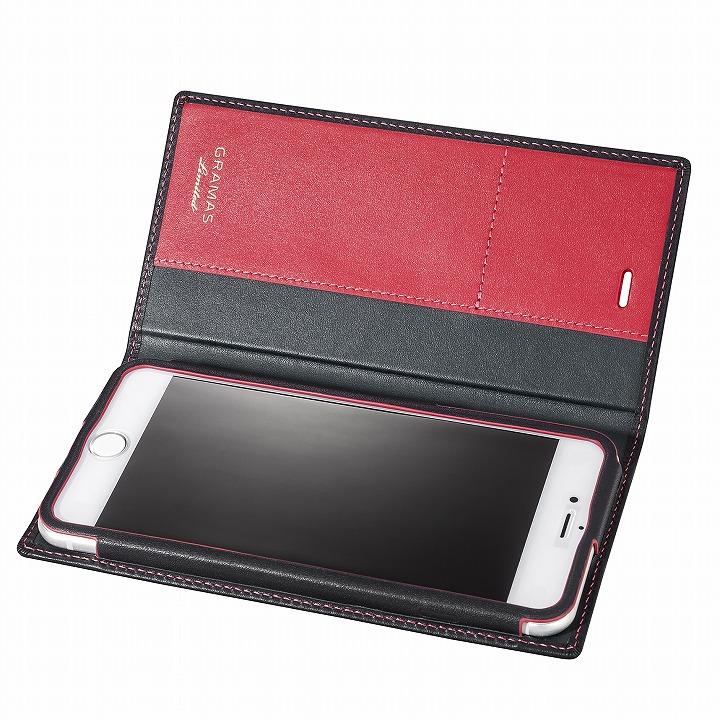 iPhone6s Plus/6 Plus ケース [数量限定モデル]GRAMAS フルレザー手帳型ケース ブラック/レッド iPhone 6s Plus/6 Plus_0