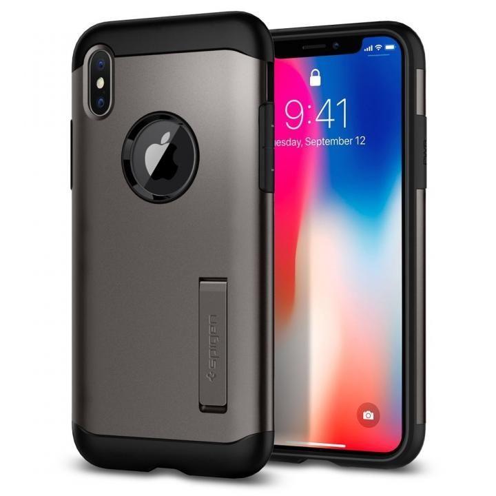 【iPhone Xケース】Spigen スリムアーマー ガンメタル iPhone X_0