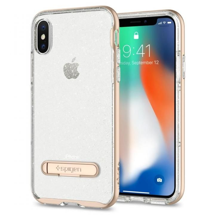 【iPhone Xケース】Spigen クリスタルハイブリッド グリッターゴールド iPhone X_0