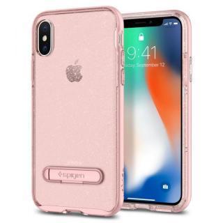 【iPhone Xケース】Spigen クリスタルハイブリッド グリッターローズ iPhone X