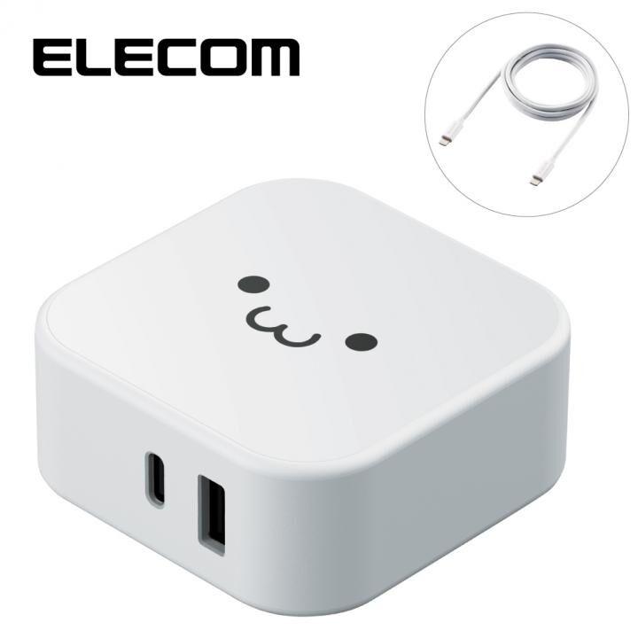 ケーブル付属型 AC充電器 PD30W+AF12W ホワイトフェイス_0