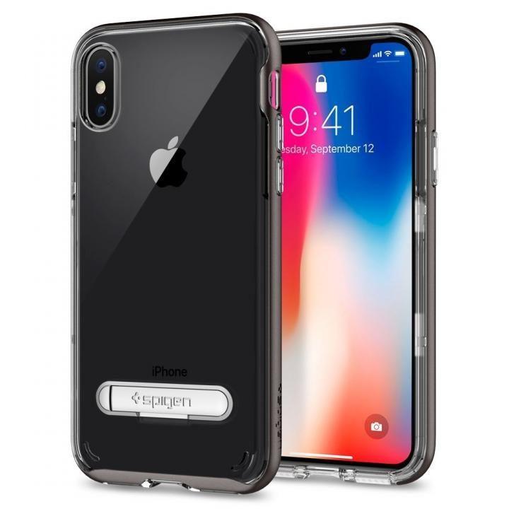 【iPhone Xケース】Spigen クリスタルハイブリッド ガンメタル iPhone X_0