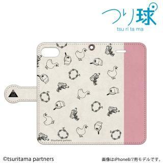 つり球 フリップケース ベージュ/モスキーピンク iPhone SE/5s/5