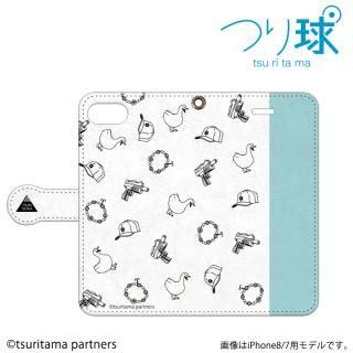 つり球 フリップケース オフホワイト/アイスブルー iPhone SE/5s/5
