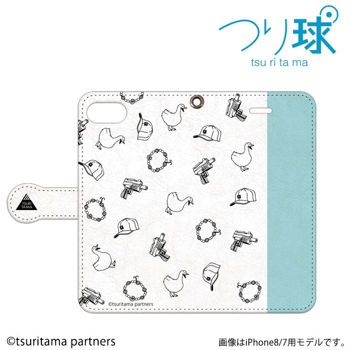 【iPhone8/7ケース】つり球 フリップケース オフホワイト/アイスブルー iPhone 8 / 7_0