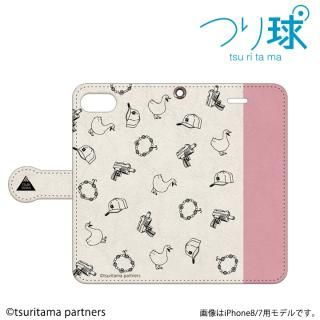 つり球 フリップケース ベージュ/モスキーピンク iPhone 6s / 6