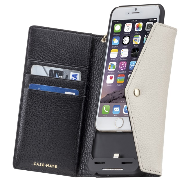[3500mAh]バッテリー内蔵本革手帳型ケース ブラック/ホワイト iPhone 6s/6