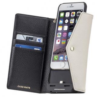 iPhone6s/6 ケース [3500mAh]バッテリー内蔵本革手帳型ケース ブラック/ホワイト iPhone 6s/6