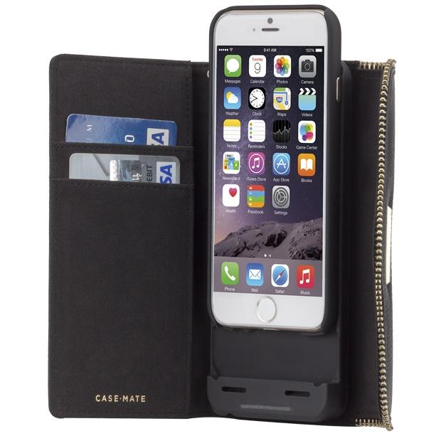 [3500mAh]バッテリー内蔵本革手帳型ケース Rebecca Minkoff ブラック iPhone 6s/6