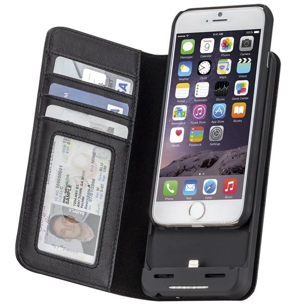 【iPhone6s/6ケース】[3500mAh]バッテリー内蔵本革手帳型ケース ブラック iPhone 6s/6_0