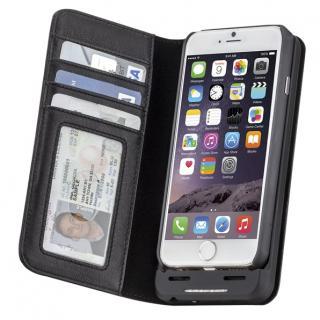 【iPhone6s/6ケース】[3500mAh]バッテリー内蔵本革手帳型ケース ブラック iPhone 6s/6_1