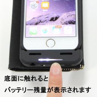【iPhone6s/6ケース】[3500mAh]バッテリー内蔵本革手帳型ケース ブラック iPhone 6s/6_5