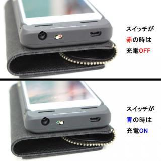 【iPhone6s/6ケース】[3500mAh]バッテリー内蔵本革手帳型ケース ブラック iPhone 6s/6_6