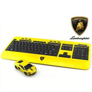Lamborghini LP700 2.4G無線マウス+キーボード イエロー【12月中旬】