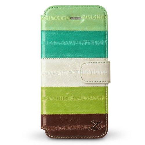 iPhone SE/5s/5 ケース iPhone5s/5 手帳型ケース Prestige Eel Leather Diary  Multi Green_0