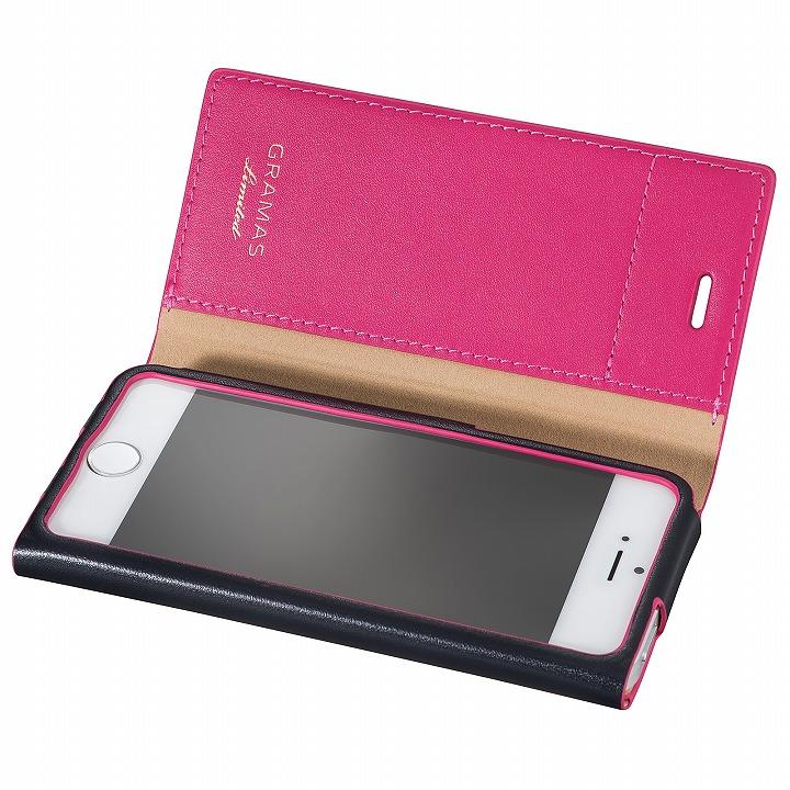 [数量限定モデル]GRAMAS One-Sheet レザー手帳型ケース ネイビー/ピンク iPhone SE/5s/5