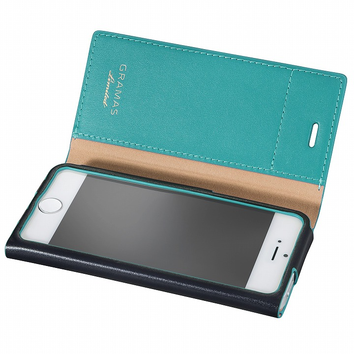 iPhone SE/5s/5 ケース [数量限定モデル]GRAMAS One-Sheet レザー手帳型ケース ネイビー/ターコイズ iPhone SE/5s/5_0