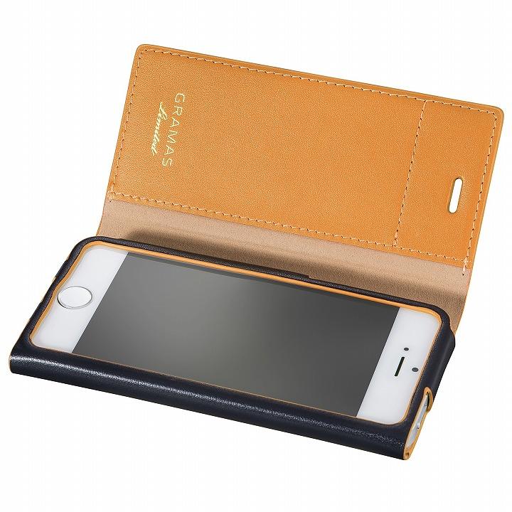 iPhone SE/5s/5 ケース [数量限定モデル]GRAMAS One-Sheet レザー手帳型ケース ネイビー/イエロー iPhone SE/5s/5_0
