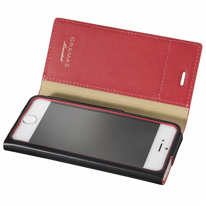 iPhone SE/5s/5 ケース [数量限定モデル]GRAMAS One-Sheet レザー手帳型ケース ブラック/レッド iPhone SE/5s/5_0