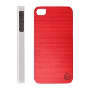 iPhone4s/4 Real wood case Vivid ポロポロレッド_ホワイト