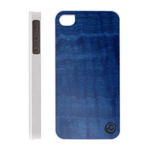 iPhone4s/4 Real wood case Vivid ミッドナイトブルー_ホワイト_0