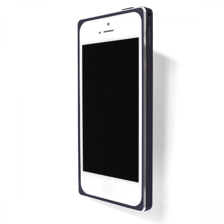 直線が美しいアルミバンパー GRAMAS ST Metal Bumper ネイビーブルー iPhone SE/5s/5