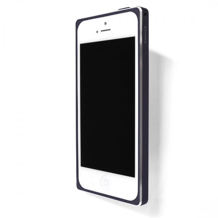 iPhone SE/5s/5 ケース 直線が美しいアルミバンパー GRAMAS ST Metal Bumper ネイビーブルー iPhone SE/5s/5_0