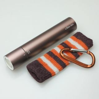 [2200mAh]e-kairoStick 充電式カイロ+予備バッテリー+LEDライト ブラウン