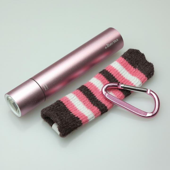 [2200mAh]e-kairoStick 充電式カイロ+予備バッテリー+LEDライト ピンクゴールド