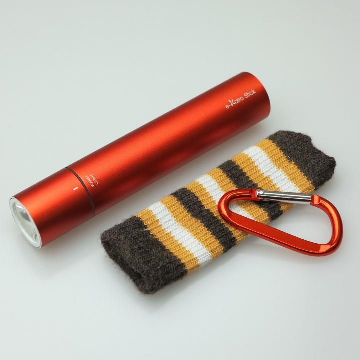 [2200mAh]e-kairoStick 充電式カイロ+予備バッテリー+LEDライト オレンジ_0