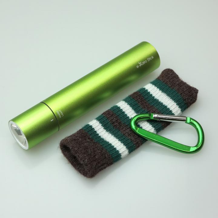 [2200mAh]e-kairoStick 充電式カイロ+予備バッテリー+LEDライト グリーン_0