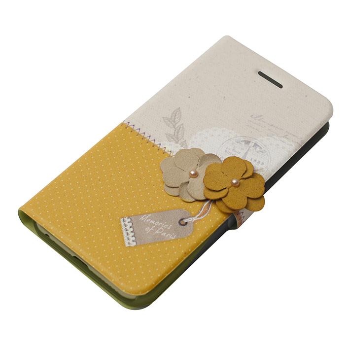 手帳型ケース Memories of Paris マスタード iPhone 6 Plus