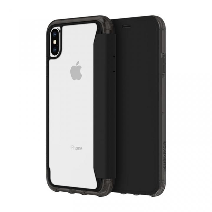 【iPhone XS/Xケース】Griffin Survivor クリアウォレット 背面クリア手帳型ケース ブラッククリア iPhone XS/X_0