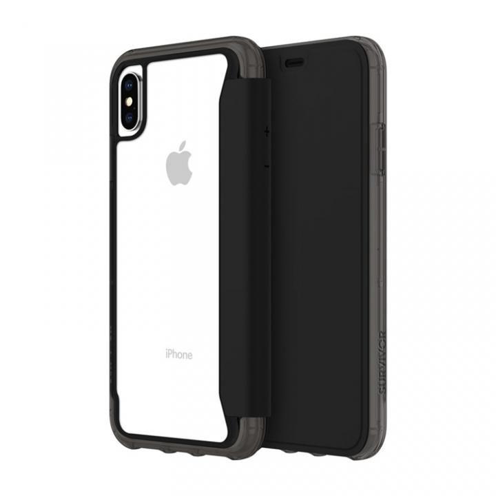 【iPhone XS Maxケース】Griffin Survivor クリアウォレット 背面クリア手帳型ケース ブラッククリア iPhone XS Max_0