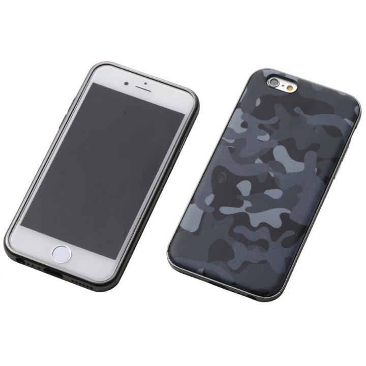【iPhone6s/6ケース】Deff ハイブリッドケース アルミ/PUレザー カモフラ夜中/アルミブラック iPhone 6s/6_0
