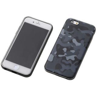 【iPhone6s/6ケース】Deff ハイブリッドケース アルミ/PUレザー カモフラ夜中/アルミブラック iPhone 6s/6