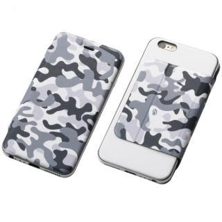 Deff ハイブリッドケース アルミ/PUレザー カモフラ雪原/アルミシルバー iPhone 6s Plus/6 Plus