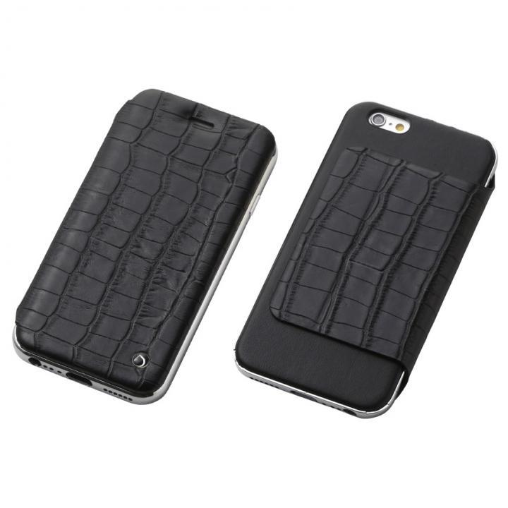 Deff ハイブリッド手帳型ケース アルミ/革 クロコ型押ブラック/アルミシルバー iPhone 6s/6