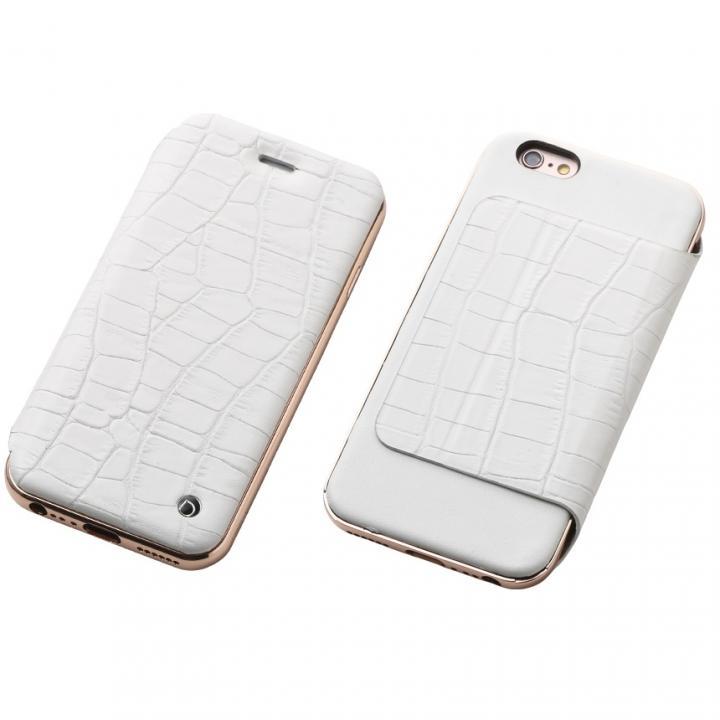 iPhone6s/6 ケース Deff ハイブリッド手帳型ケース アルミ/革 クロコ型押ホワイト/ローズゴールド iPhone 6s/6_0