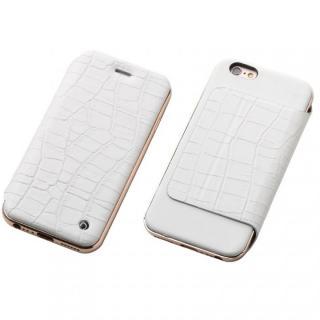 Deff ハイブリッド手帳型ケース アルミ/革 クロコ型押ホワイト/ローズゴールド iPhone 6s/6