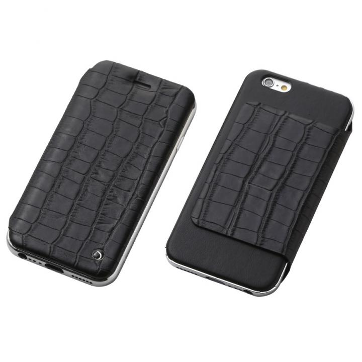 Deff ハイブリッド手帳型ケース アルミ/革 クロコ型押ブラック/アルミシルバー iPhone 6s Plus/6 Plus