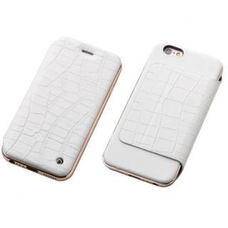 Deff ハイブリッド手帳型ケース アルミ/革 クロコ型押ホワイト/ローズゴールド iPhone 6s Plus/6 Plus