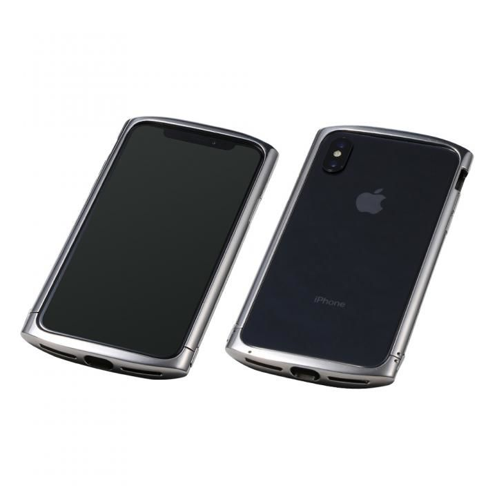 【iPhone XS/Xケース】Deff Cleave チタンバンパー ellipse シルバー iPhone XS/X_0